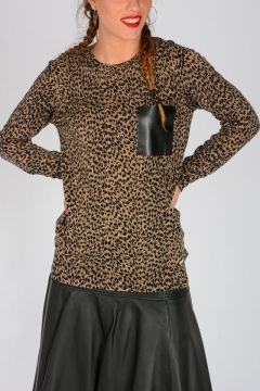 MICHAEL Leopard Printed Cotton Blend Sweater