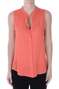MICHAEL Sleeveless Silk Top With Gold Tone Details