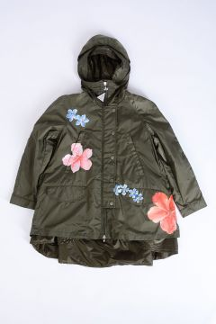Flowers Embroidered and Hooded Down Padded