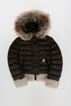 Nylon BAGUE Down Jacket with Real Fur Details