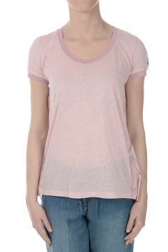 Slub Cotton T-shirt with Polyester Detail