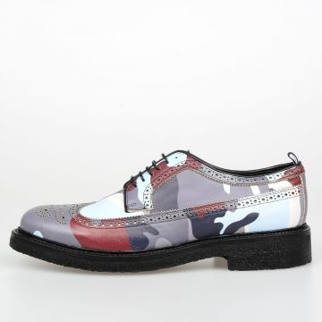 GAMME BLEU Camouflage Leather Derby Shoes