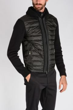 Padded Down Jacket With Knitted Wool Back