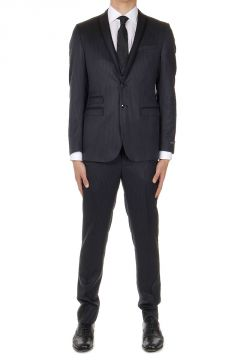 Pinstriped Extrafine Virgin Wool Suit