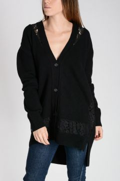 Virgin Wool Cardigan with Lace Details