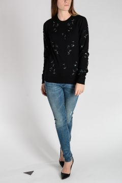 Virgin Wool Sweater with Embroideries and Sequins
