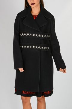 Wool Blend Coat with Rhinestone