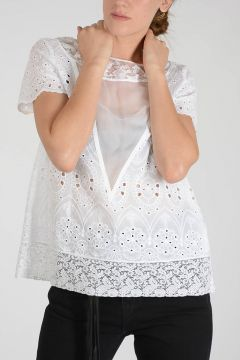 Cotton blend top With Lace