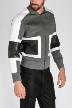 Neoprene GEOMETRIC PANELLED Bomber Jacket