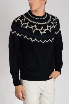 Wool & Mohair Blend Printed Sweater