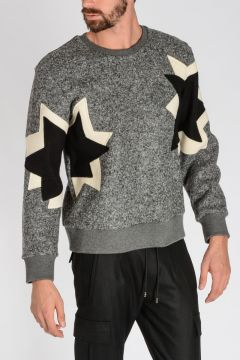 Virgin Wool Blend POP ART STAR  Sweatshirt