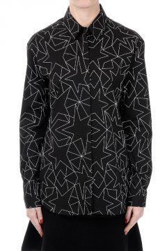 Camicia Stampata in Cotone Stretch