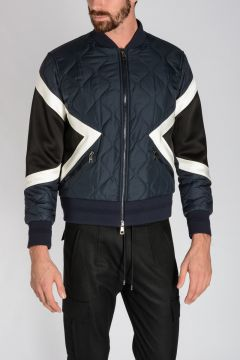 Nylon GEOMETRIC PANELLED Bomber Jacket