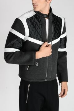 Leather & Neoprene SLIM FIT Jacket