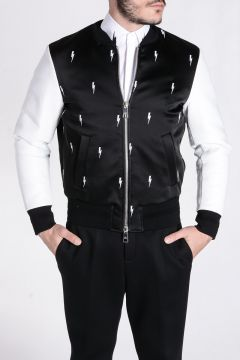 Leather and Fabric BOMBER FIT Jacket