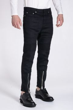 SKINNY FIT LOW RISE Stretch Denim Jeans with Ankle Zip