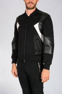 Neoprene GEMETRIC PANELLED Bomber Jacket