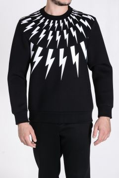 Round-Neck Sweatshirt Bolt Printed