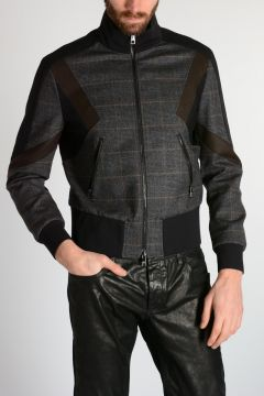 Stretch Virgin Wool GEOMETRIC INLAY Jacket
