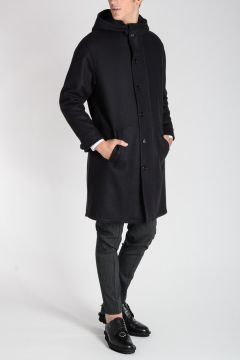 Virgin Wool Blend Hooded Coat