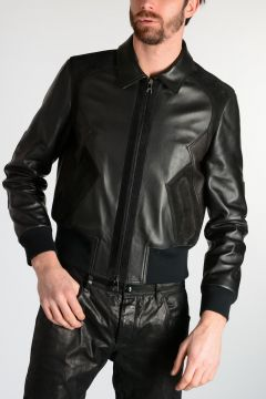 GEOMETRIC PANELLED Leather Jacket