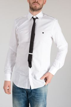 Popeline Cotton Shirt with Tie