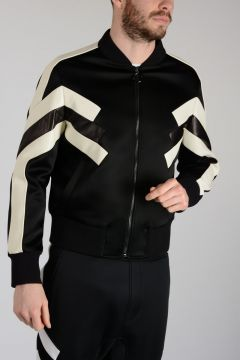 Bomber Jacket with Leather Details