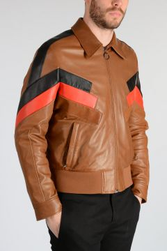Bomber GEOMETRIC INLAY in Pelle