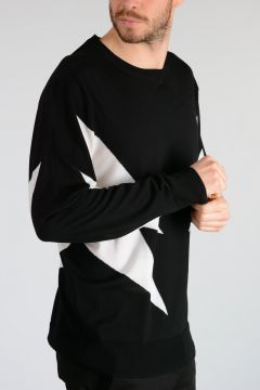 Merino Wool ABSTRACT BOLT Sweater