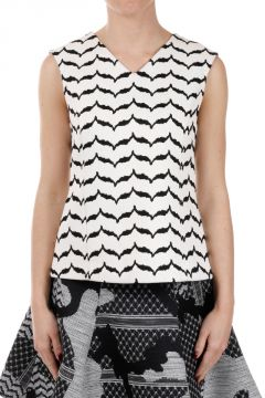 Geometric Patterned Top in Cotton Blend
