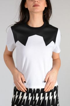 Crewneck T-shirt With Faux Leather Details