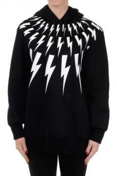 Bolt Patterned Sweatshirt with Hoodie