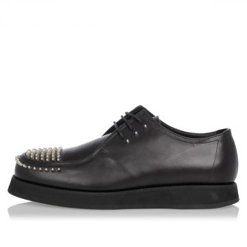 Leather Laced Studded Shoes
