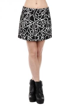 Virgin Wool Blend Geo Printed mini skirt