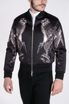 BOMBER FIT Jacket with Hawk Print