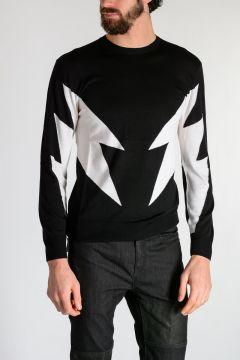 Merino Wool ABSTRACT BOLT Sweater