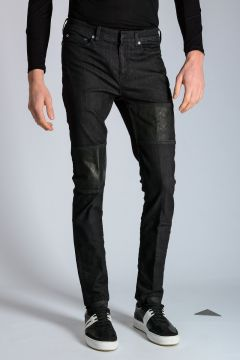 Jeans in Denim Stretch con Dettagli in Ecopelle 16 cm