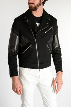 Neoprene Biker Jacket with Leather Details