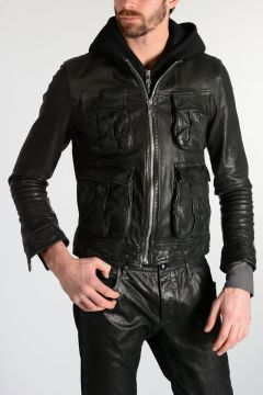 Leather Jacket with Neoprene Detail