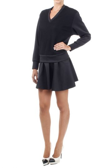 Long sleeved dress with wool insert