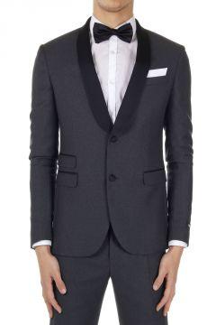 Virgin Wool Skinny Fit Blazer TUXEDO