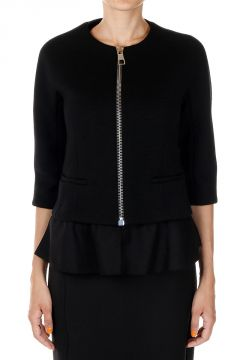 Zipped Wool Modal Jacket