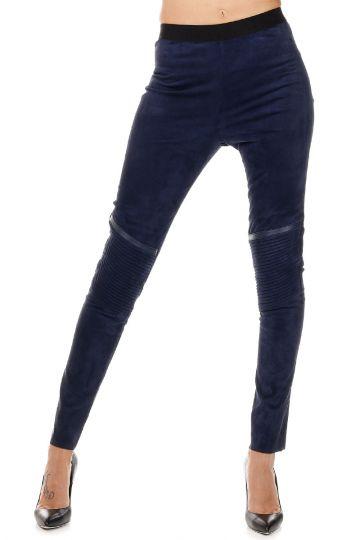 Pantalone in Pelle Con Elastico in Vita
