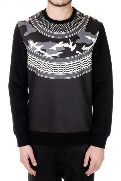 Neoprene Printed Round Neck Sweatshirt