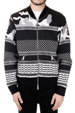 Patterned Sweatshirt with Zip