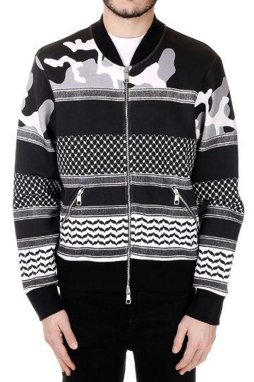 Patterned Sweatshirt with Zip