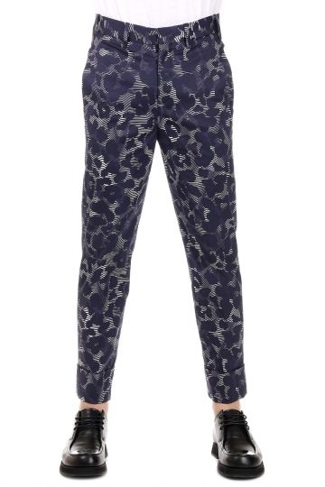 Stretch Cotton Camouflage Print Pants