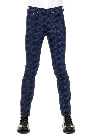 Stretch Denim Printed Jeans 16 cm