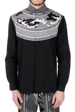 Camicia in Popeline di Cotone Stampa Camouflage