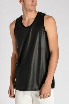 Cotton and Faux Leather Oversized sleeveless T-shirt